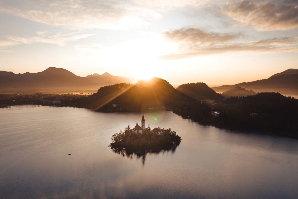 Sunrise over Lake Bled, photo by Brian Rauschert