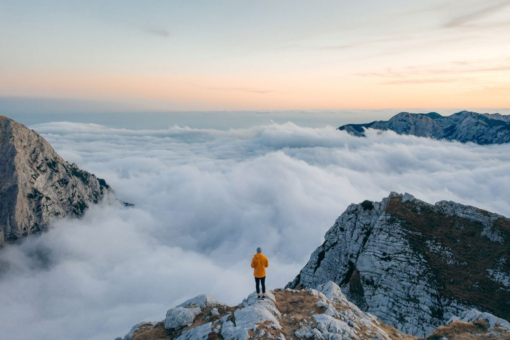 Brian Rauschert in the Slowenian Alps on the Summit, Drone Photography
