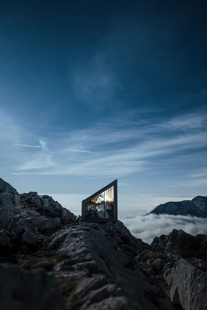 NIghsky and a cabin in the slovenian alps by Brian rauschert
